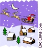 Santa's sleigh in Christmas scene Vector Clip Art graphic