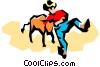 Vector Clip Art image  of a Rodeo cowboy with a steer