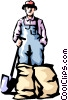 Farmer Vector Clip Art graphic