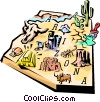 Arizona vignette map Vector Clipart graphic