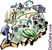 Vector Clipart illustration  of a Indiana vignette map