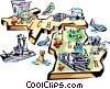 Michigan vignette map Vector Clip Art graphic