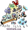 Vector Clipart graphic  of a Rhode Island vignette map
