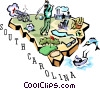 South Carolina vignette map Vector Clipart illustration