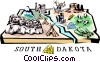 Vector Clip Art image  of a South Dakota vignette map