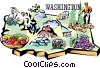 Washington vignette map Vector Clipart image