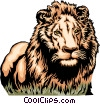 Vector Clip Art image  of an African lion