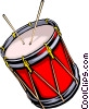 Vector Clipart graphic  of a Drum with drum sticks