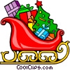 Vector Clipart graphic  of a Santa's sleigh