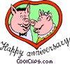 Vector Clipart image  of a Happy Anniversary pigs