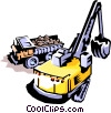 Vector Clip Art graphic  of a Loader and dump truck