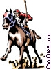 Vector Clip Art graphic  of a Horse race