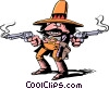 Vector Clip Art image  of a Cartoon gunslinger