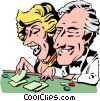 Vector Clip Art picture  of a Cartoon gambling