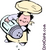 Vector Clip Art image  of a Cartoon chef with salt shaker