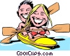 Vector Clipart graphic  of a Cartoon kayaking