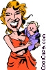 Vector Clip Art picture  of a Cartoon mother & child