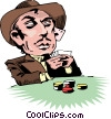 Cartoon card player Vector Clipart illustration
