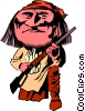 Vector Clipart picture  of a Cartoon Sitting Bull
