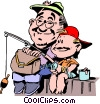 Vector Clipart image  of a Father and son fishing from