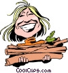 Cartoon lady with firewood Vector Clipart picture
