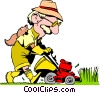 Vector Clipart graphic  of a Cartoon man with lawnmower