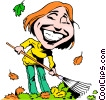 Cartoon lady raking leaves Vector Clip Art picture