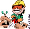 Vector Clipart graphic  of a Cartoon woodcutter