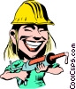 Vector Clipart graphic  of a Cartoon construction worker