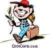 Vector Clip Art picture  of a Cartoon hayseed kid