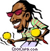 Vector Clip Art picture  of a Cartoon Caribbean musician
