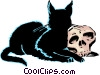 Vector Clip Art image  of a Black cat