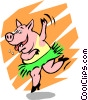 Vector Clip Art image  of a Party pig