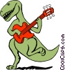 Vector Clip Art image  of a Dinosaur playing the guitar