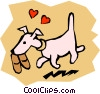 Dog with slippers Vector Clipart illustration