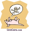 Vector Clip Art image  of a Dog playing dead