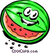 Vector Clipart image  of a Cartoon watermelon