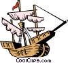 Vector Clip Art picture  of a Christopher Columbus' ship