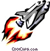 Vector Clipart illustration  of a Shuttle blasting off