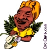 Cartoon Caribbean lady Vector Clipart illustration