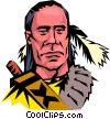 Vector Clip Art image  of a Cartoon North American Indian
