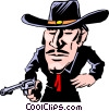Vector Clip Art picture  of a Cartoon gunslinger