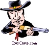 Cartoon gunslinger Vector Clip Art graphic