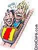 Cartoon roller coaster Vector Clipart illustration