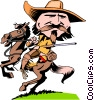 Vector Clip Art image  of a Cartoon Wild Bill Hitchcock