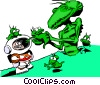 Vector Clipart graphic  of a Cartoon spacemen