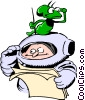 Cartoon spacemen Vector Clipart illustration