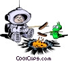 Vector Clip Art image  of a Cartoon spaceman roasting hot
