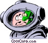 Vector Clip Art graphic  of a Cartoon spacemen