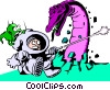 Cartoon spacemen Vector Clipart picture